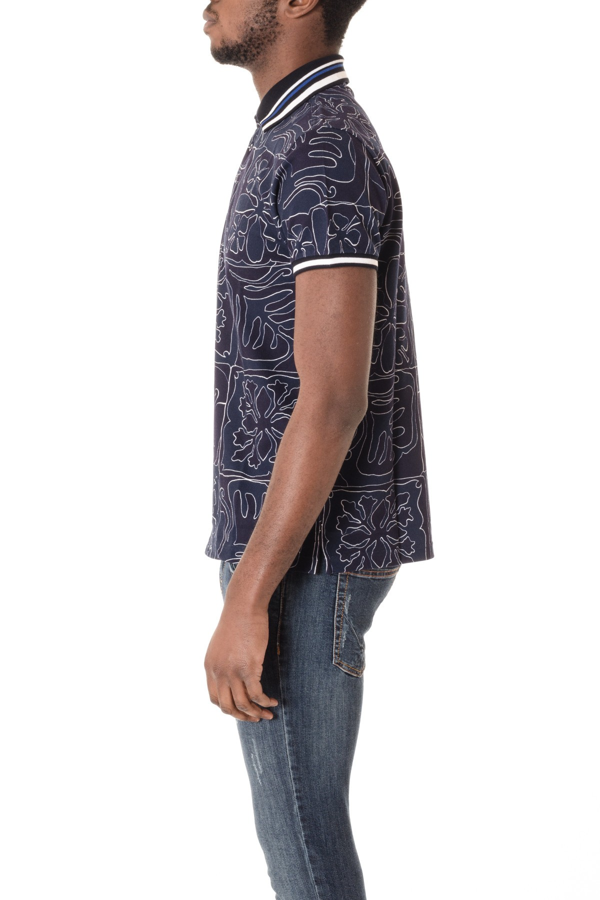 3f1d01b83 ... Dark blue polo shirt for men with pattern ETRO S/S 16 ...