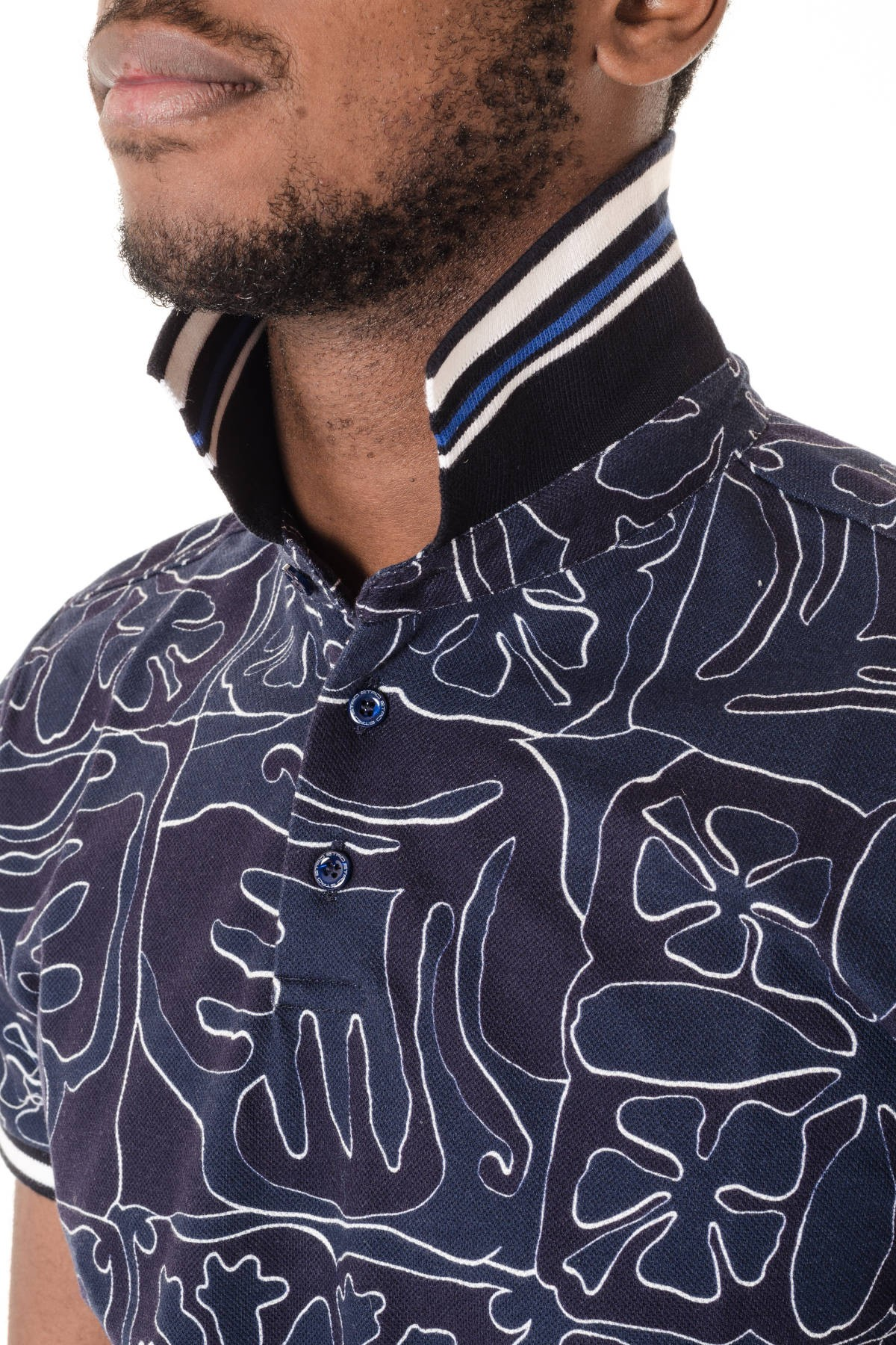 fa3055991 ... Dark blue polo shirt for men with pattern ETRO S/S 16