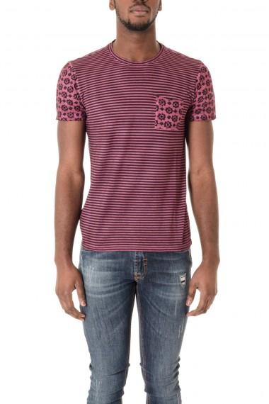 P/E 16 T-shirt in cotone colori rosa e nero WOOL & CO.