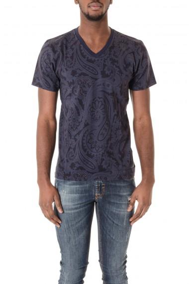 ETRO T-shirt blu con collo a V P/E16