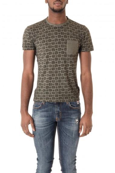 P/E16 T-shirt verde con disegni geometrici stampati WOOL & CO.