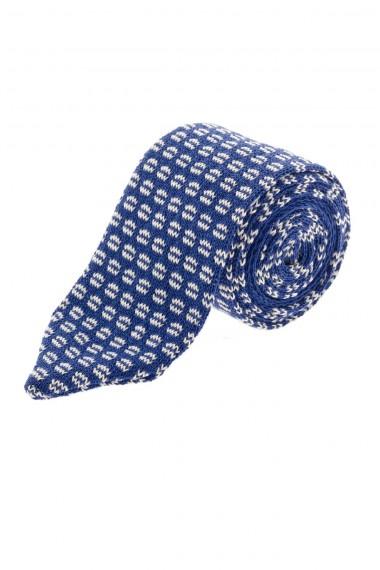 P/E 16 RODA Cravatta in cotone colore blu con disegni bianchi