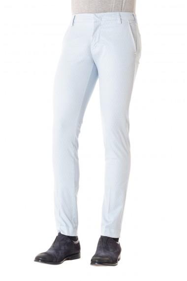 Pantalone cotone azzurro in tessuto lavorato ENTRE AMIS P/E 16