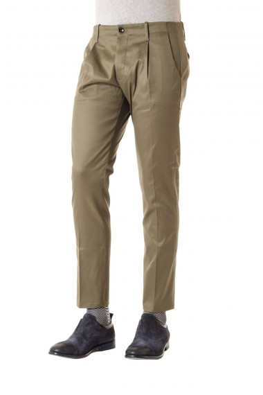 NINE IN THE MORNING pantalone in cotone per uomo P/E 16 colore verde oliva