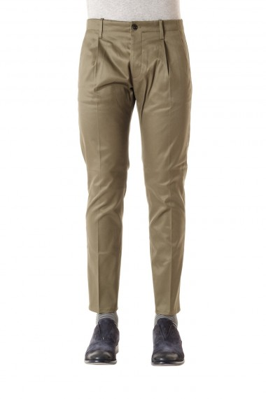 NINE IN THE MORNING pantalone in cotone per uomo P/E 16 colore verde oliva