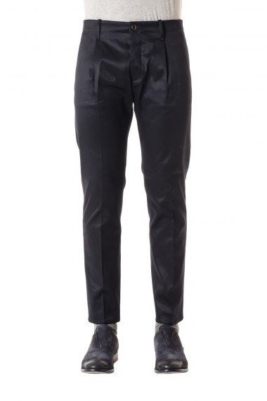 NINE IN THE MORNING Black cotton trousers made in Italy for men