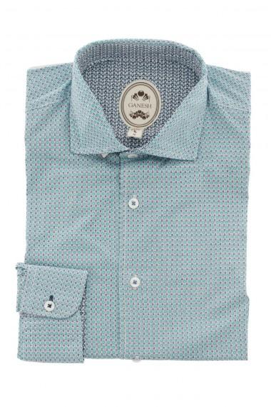 Camicia verde GANESH  per uomo con micro disegni   P/E 16