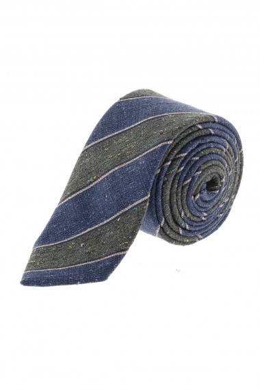 RIONE FONTANA S/S 16 blue and green striped tie