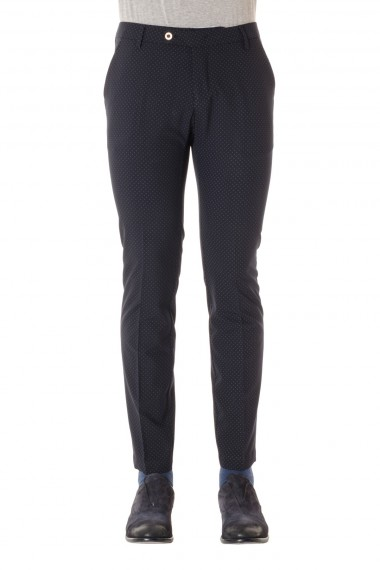 MICHAEL COAL Blue trousers with gray circles S/S 16