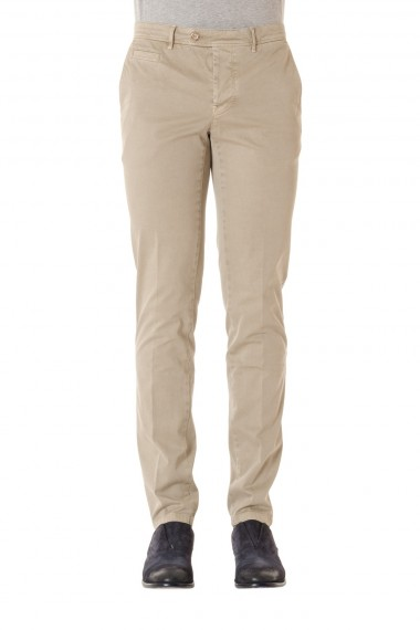 Trousers for men sand-colored PIATTO S/S 16 cotton fabric