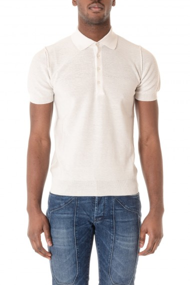 Cotton white polo shirt PAOLO PECORA for men S/S 16