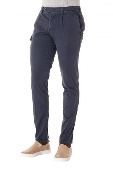 P/E 16 Pantalone colore blu con tasca laterale PIATTO per uomo