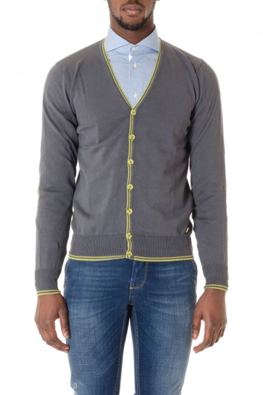 SHOCKLY  Dark gray cardigan with yellow profiles S/S 16 for men
