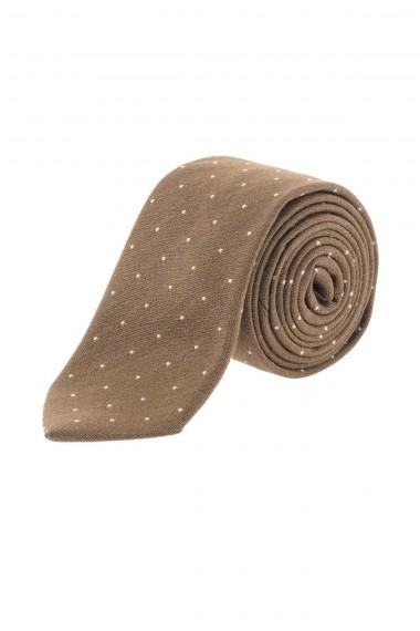 RIONE FONTANA Cravatta marrone con micro pois bianchi  P/E 16