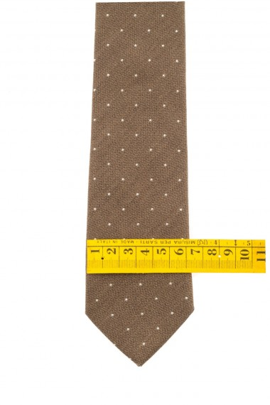 RIONE FONTANA Brown tie with white micro polka dots S/S 16