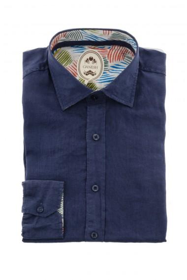 Camicia in lino per uomo P/E 16 colore blu GANESH
