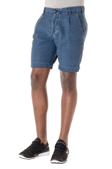Blue bermuda shorts for men MYTHS cotton and linen fabric S/S 16