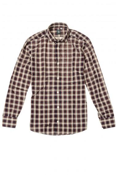Camicia bordò con fantasia tartan per uomo P/E 2015 ELEVENTY