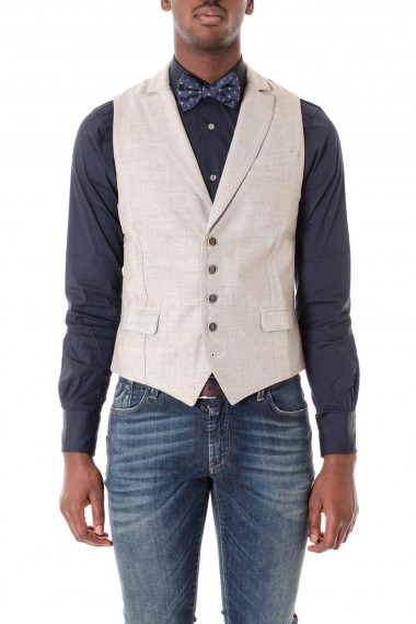ELEVENTY Gilet in tessuto di lana grigio  A/I 16-17 per uomo