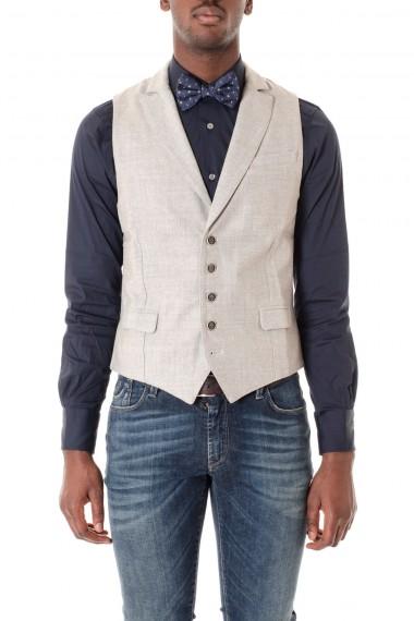 ELEVENTY Gray wool vest for men F/W 16-17