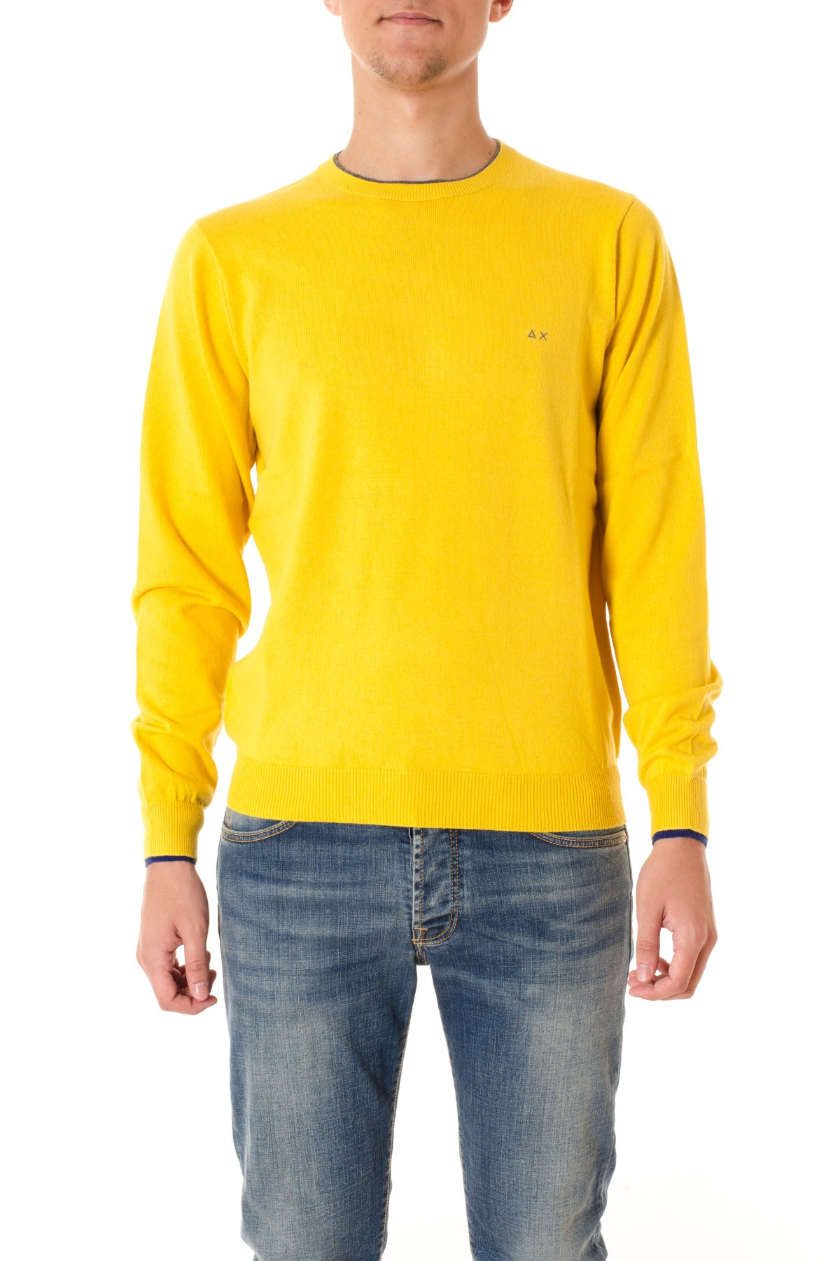 Yellow crew-neck sweater for men SUN68 F/W 16-17 - Rione Fontana