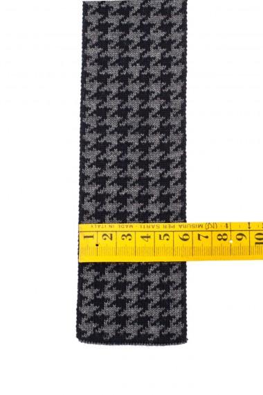 ELEVENTY  Cravatta pied de poule in lana colori grigio e nero A/I 16-17