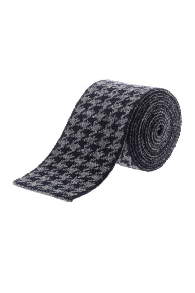 ELEVENTY Gray and black houndstooth tie for men F/W 16-17