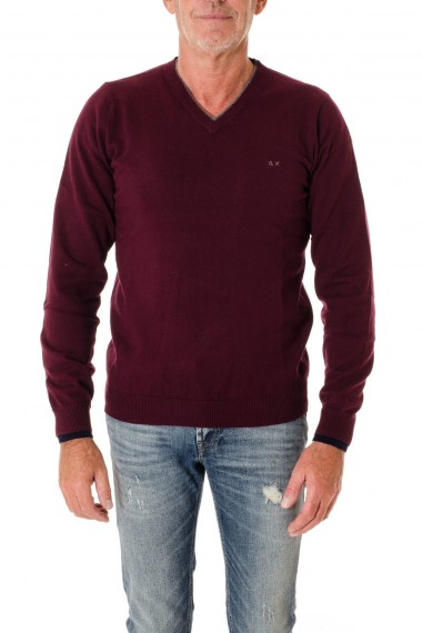 Red purple V-neck sweater for men SUN68 F/W 16-17