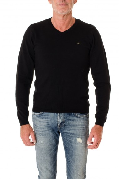 Dark blue V neck sweater for men SUN68 F/W 16-17 with patch