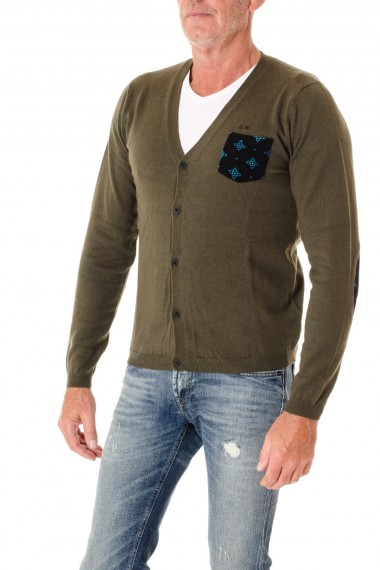 SUN68 Green cardigan with pocket for men F/W 16-17