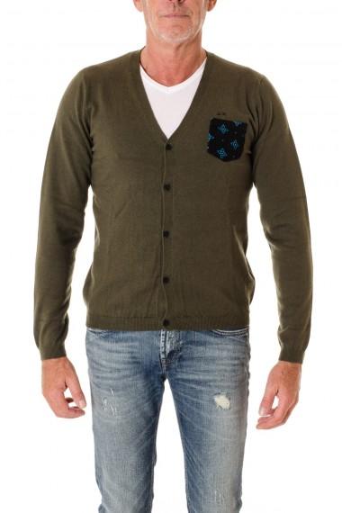SUN68 Cardigan di colore verde  A/I 16-17 con taschino per uomo