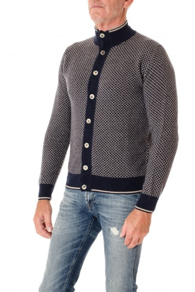 H953 Blue and beige cardigan for men F/W 16-17