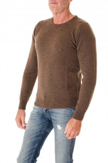 RIONE FONTANA Brown cashmere round neck sweater for men F/W 16-17
