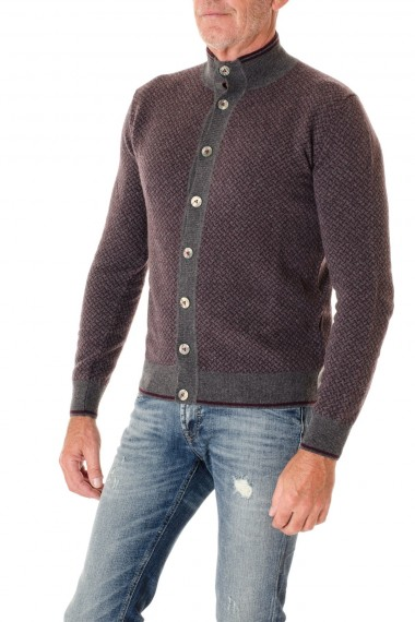 H953  Gray and burgundy cardigan with buttons F/W 16-17