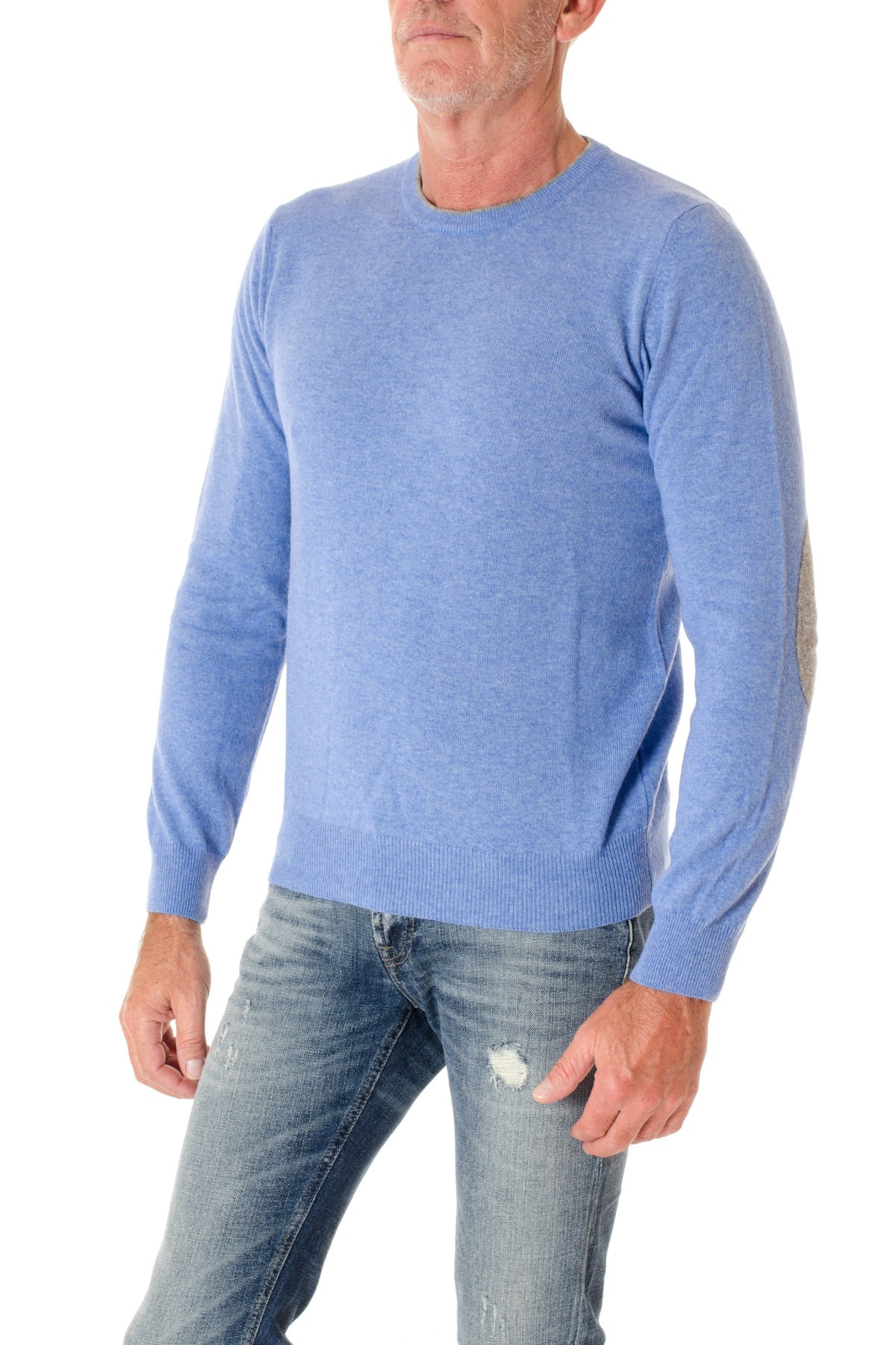 F/W 16-17 Sky blue crewnek sweater for men RIONE FONTANA - Rione ...