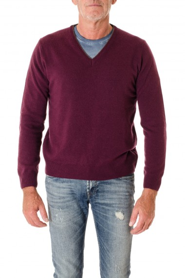 F/W 16-17 Red-purple V-neck sweater for men RIONE FONTANA with patches