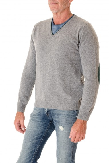 F/W 16-17 Gray V neck sweater for men RIONE FONTANA with patch