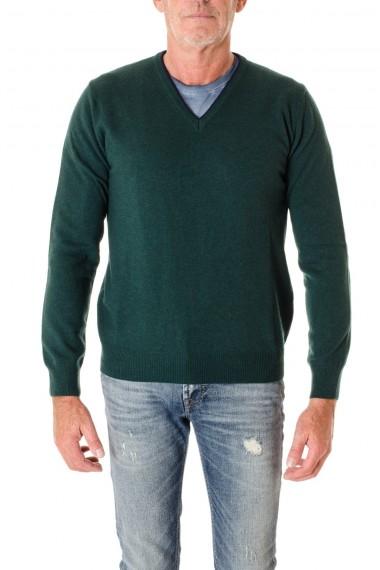 A/I 16-17 Maglia con toppe scollo a V colore verde RIONE FONTANA per uomo