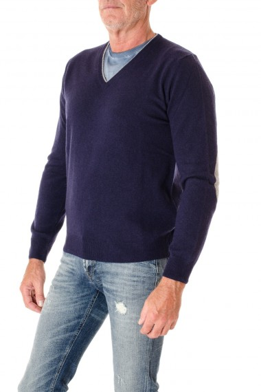 Blue V-neck sweater for men RIONE  FONTANA with patches F/W 16-17