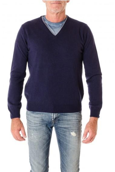 Maglia scollo a V per uomo RIONE FONTANA colore blu con toppe A/I 16-17