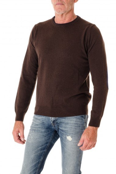 Blue crewneck sweater RIONE FONTANA for men with blue patches F/W 16-17