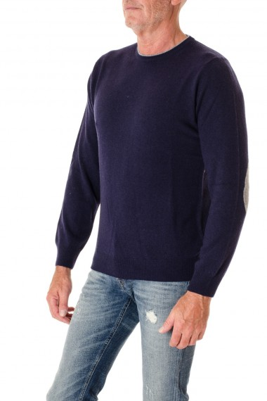 Blue crewneck sweater for men with gray patches RIONE FONTANA F/W 16-17
