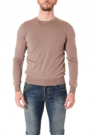 F/W 16-17  Brown crew neck sweater for men PAOLO PECORA with patch