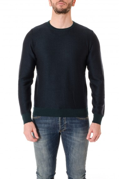 A/I 16-17 Green and blue crew-neck sweater for men RIONE FONTANA