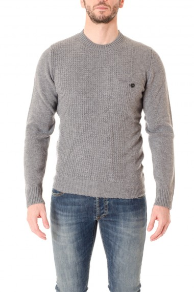 PAOLO PECORA Gray crew-neck sweater with pocket for men A/I 16-17