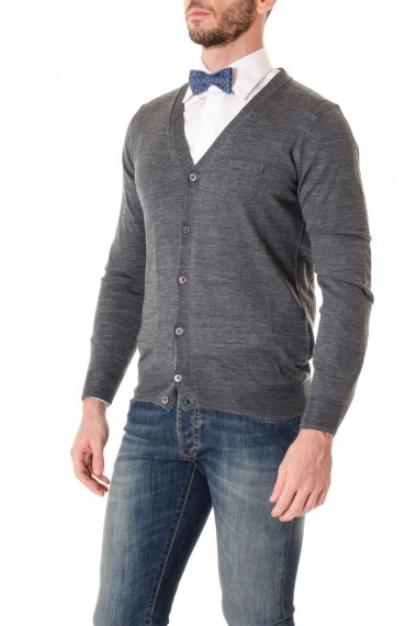 Cardigan grey for men PAOLO PECORA F/I 16-17 with pocket
