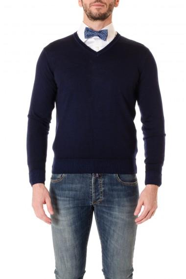 Blue V-neck sweater for men WOOL & CO.