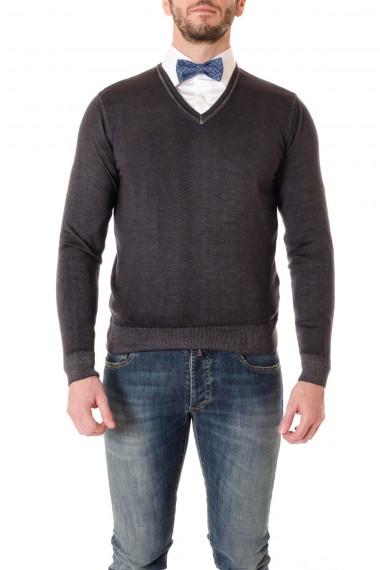 Maglia colore grigio con scollo a V WOOL & CO. per uomo