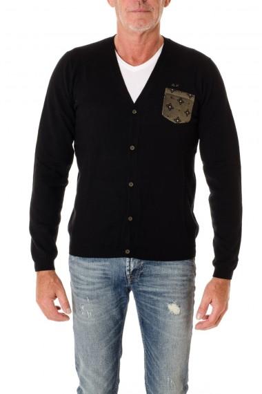 Cardigan di colore nero con taschino SUN68 per uomo  A/I 16-17