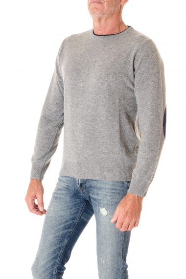Gray round neck for man with blue patches RIONE FONTANA F/W 16-17